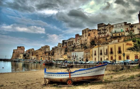 Picture auto, machine, boat, building, Italy, promenade, Italy, harbour, Sicily, Sicily, Castellammare del Golfo, Castellammare del …
