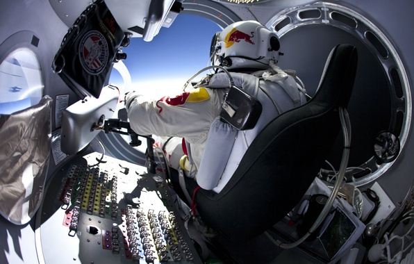 Picture jump, stratosphere, Red Bull, Stratos, Felix Baumgartner