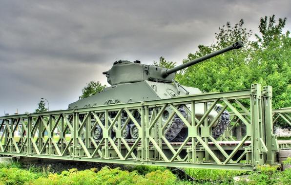 "Picture bridge, war, tank, armor, average, M4 Sherman, period, world, Second, ""Sherman"""