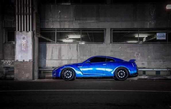 Picture blue, black, nissan, profile, drives, blue, gt-r, r35, niisan
