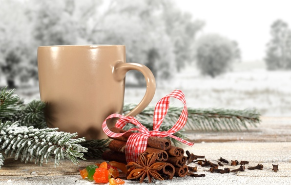 Picture winter, snow, sprig, tea, coffee, tape, pine, winter, snow, cup, coffee, tea, ribbon, cinnamon, pine …