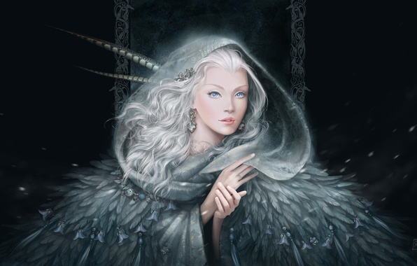 Picture look, girl, snow, decoration, earrings, feathers, hands, art, white hair