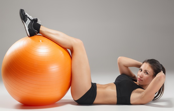 Picture ball, pose, female, workout, fitness, abs
