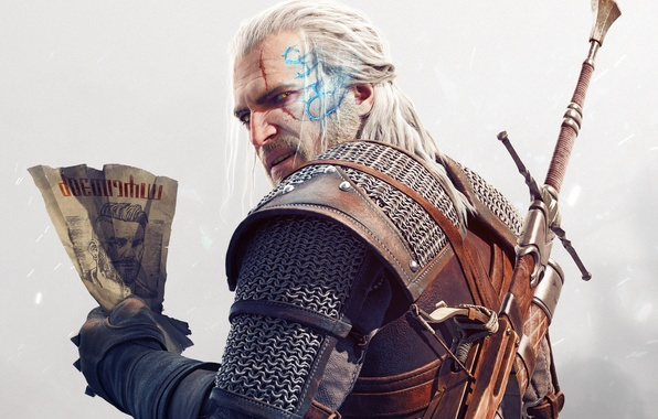 Picture look, paper, magic, sword, armor, beard, scar, Geralt, crossbow, DLC, CD Projekt RED, The Witcher …