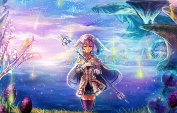 Picture girl, lake, rocks, art, staff, game, melia, nadir, xenoblade