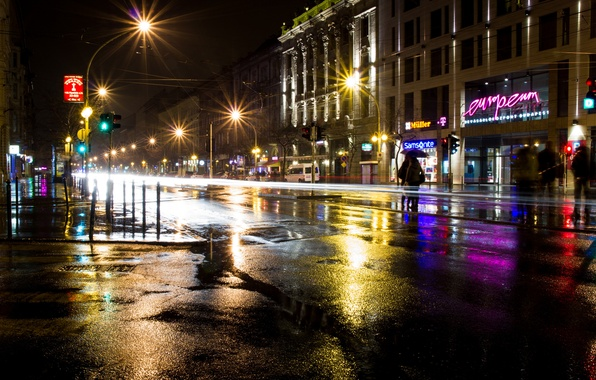 Picture road, asphalt, night, the city, lights, people, building, excerpt, lighting, lights, puddles, signs, stores, Hungary, …