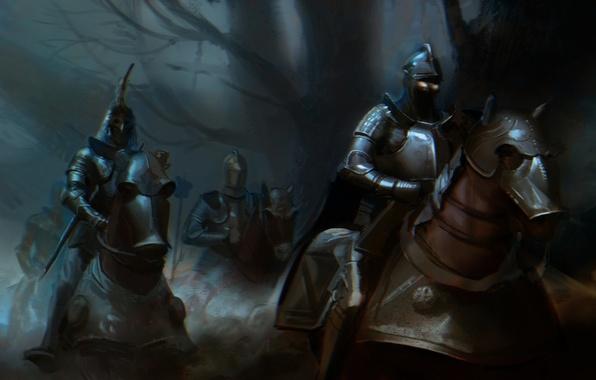 Photo Wallpaper Armor Burning Eyes Horse Horses Dark War Riders