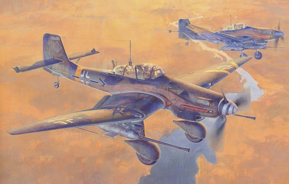 Picture the sky, river, earth, figure, art, bombers, Junkers, WW2, German, 37 mm, single-engine, double, dive, …
