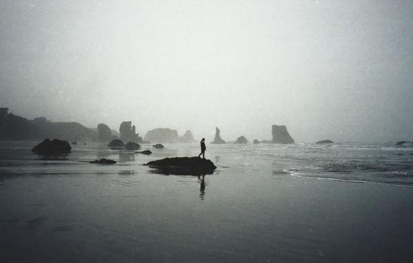 Picture waves, girl, beach, sea, rocks, fog, seaside, mist, cloudy, rainy
