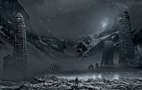 Picture winter, snow, mountains, the city, lake, weapons, people, art, bones, skeleton, ruins, comic, romance of …