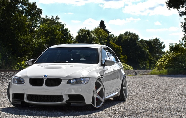 Picture white, the sky, clouds, bmw, BMW, white, sedan, front view, e90, lervia