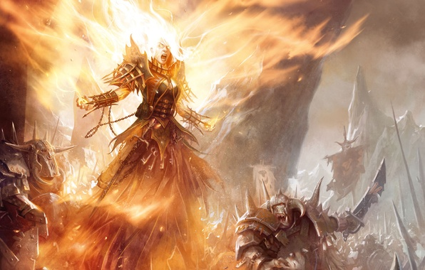 Picture rocks, flame, Girl, MAG, battle, orcs