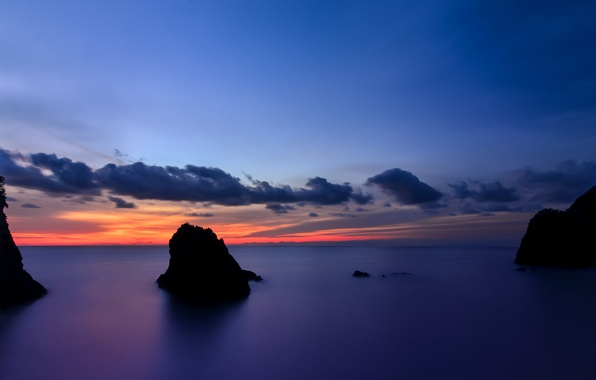 Picture the sky, clouds, sunset, orange, the ocean, rocks, shore, island, the evening, Japan, calm, blue, …