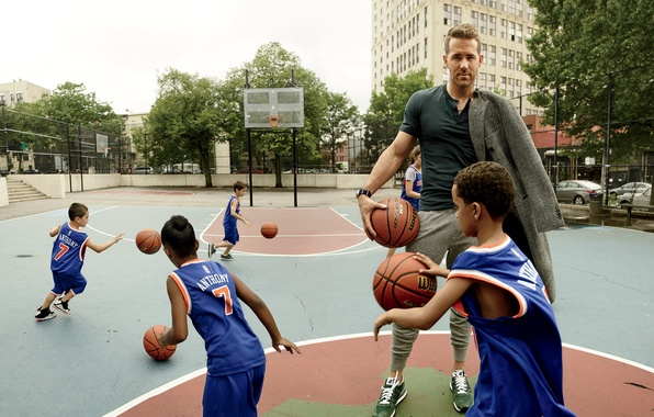 Picture children, sport, balls, actor, Ryan Reynolds, Ryan Reynolds, basketball, photoshoot, Playground, Peggy Sirota