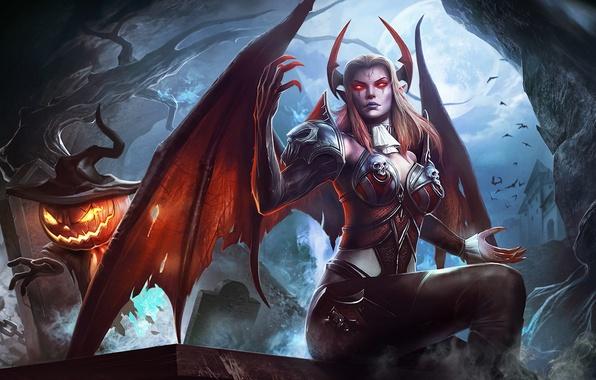 Picture girl, night, magic, the demon, Halloween, pumpkin, succubus, order & chaos online