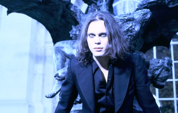 Picture black, the building, wings, costume, statue, musician, singer, singer, composer, HIM, artist, Ville Valo, songwriter, …