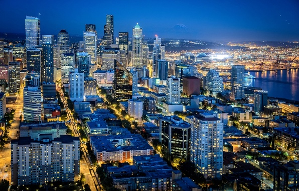 Picture night, the city, lights, building, road, home, skyscrapers, backlight, Washington, Seattle, USA, USA, United States, …