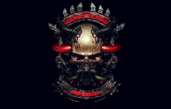 Picture style, music, skull, mechanism, tube, infernal, hardtechno