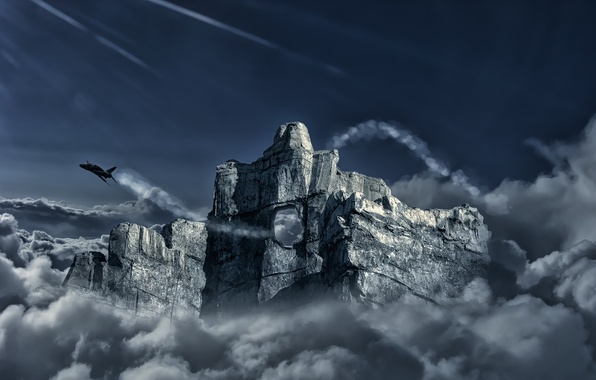 Picture clouds, flight, rock, the plane, mountain, hole, fighter, art, opening
