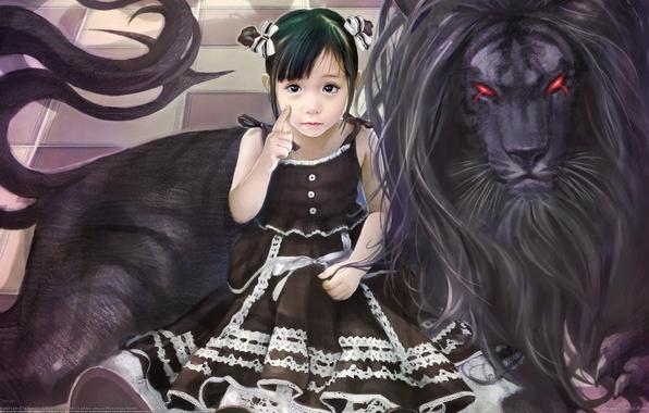 Photo wallpaper figure, Girl, black lion