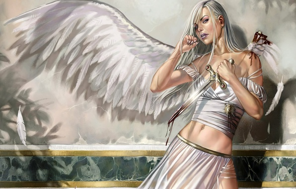 Picture girl, blood, wings, angel, knife