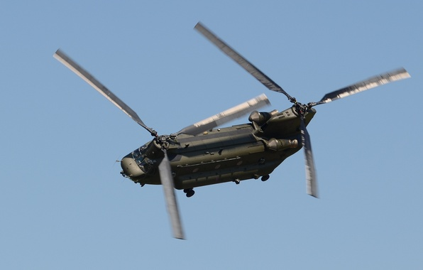 Photo wallpaper the sky, flight, helicopter, transport, military, canadian, CH-47F, Chinook