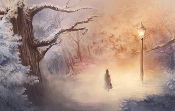 Picture winter, art, girl, lantern, Narnia, Narnia