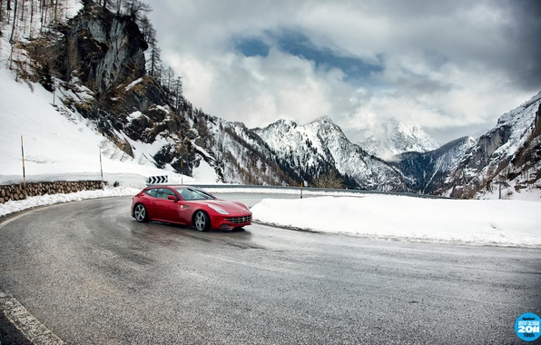 Picture road, the sky, clouds, snow, mountains, red, turn, skid, turn, Ferrari, supercar, Ferrari, top gear, …