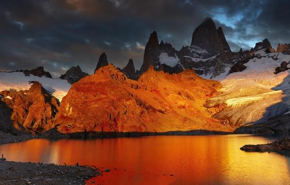 Picture snow, landscape, mountains, lake, dawn, Argentina, Argentina, Patagonia, Patagonia, Laguna de Los Tres