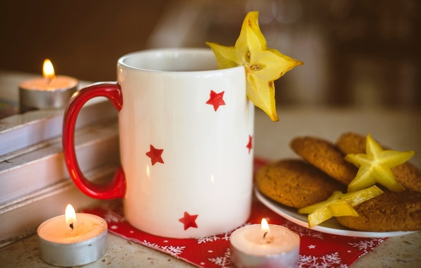 Picture food, candles, cookies, mug, Cup, stars, carambola