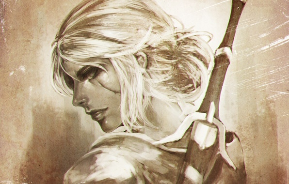 Picture girl, art, witcher, ciri, the witcher 3: wild hunt