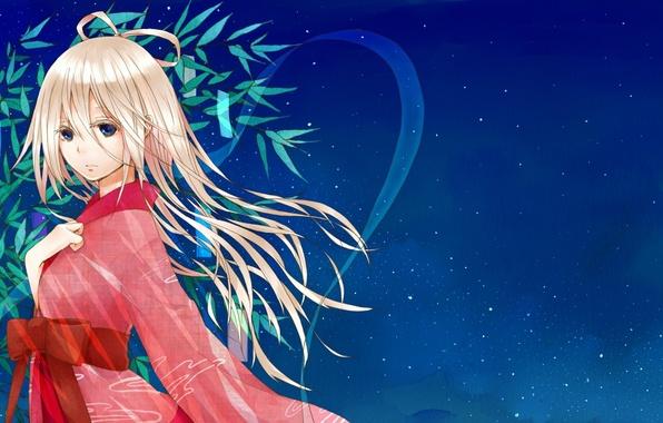 Picture the sky, girl, stars, anime, art, kimono, vocaloid, natuiro