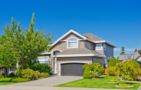 Picture summer, the sky, grass, the sun, trees, flowers, design, house, lawn, blue, mansion, the bushes
