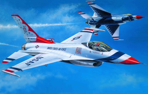 Picture the plane, fighter, art, USA, BBC, Air, The Thunderbirds, Thunderbirds, F-16C, flight, squadron, Demonstration, Squadron., …