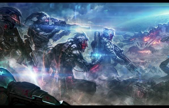 Picture death, weapons, fiction, war, battle, soldiers, armor, battle, cyborg, mercenaries