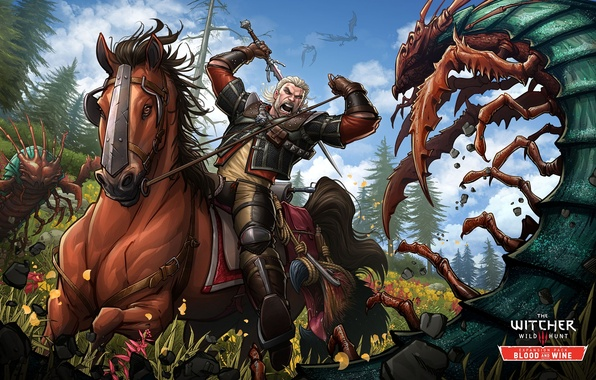 Picture attack, horse, sword, the Witcher, art, Witcher, Gwynbleidd, Patrick Brown, PatrickBrown, Wild Hunt, Geralt of ...