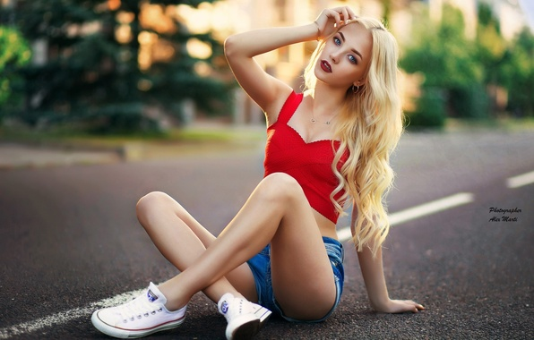 Picture girl, trees, street, shorts, sneakers, home, makeup, Mike, figure, hairstyle, blonde, photographer, posing, bokeh, sitting, …