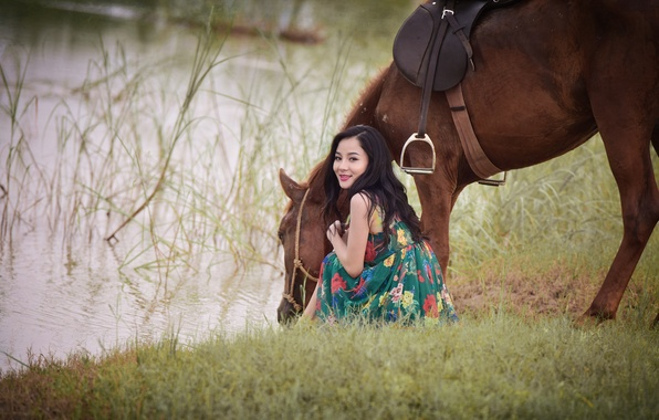 Picture summer, grass, smile, lake, horse, thirst, horse, dress, Asian