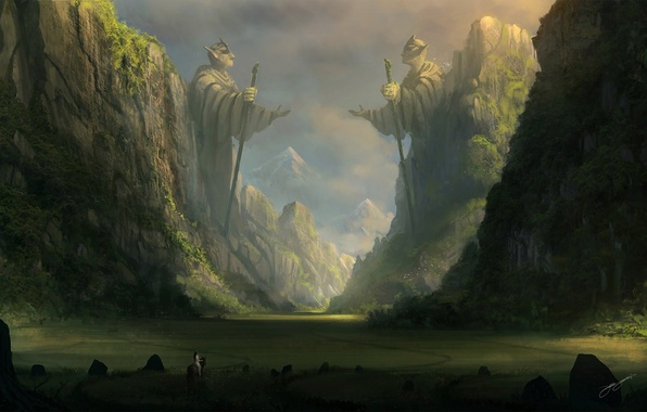 Picture mountains, stones, rocks, horse, elf, art, rider, statue, staff, traveler, blinck