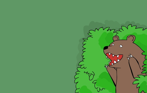 Picture greens, forest, bear, Creek, comic, template