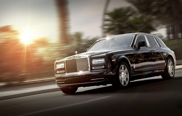 Picture Phantom, Rolls Royce, black, front, luxury