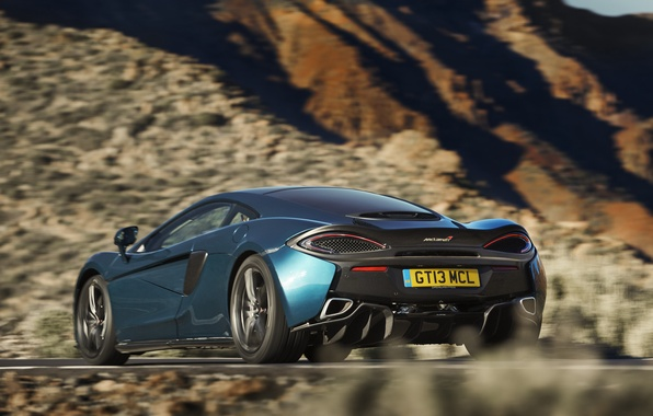 Picture car, auto, McLaren, speed, in motion, speed, back, 570GT