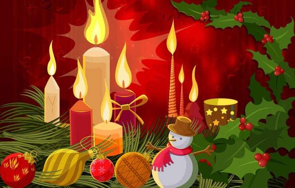 Picture candle, vector, ball, New Year, Christmas, snowman, postcard