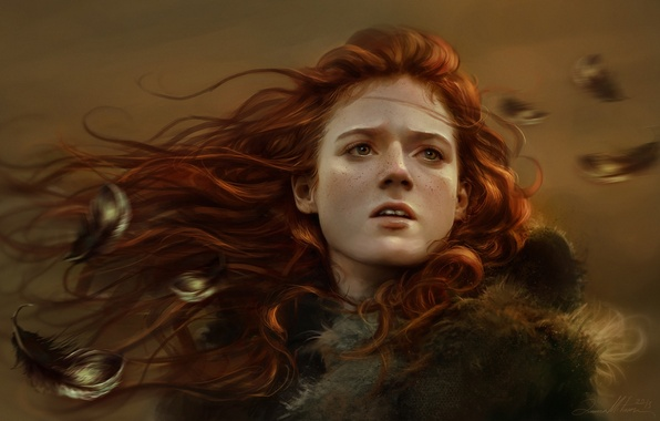 Picture girl, face, feathers, art, freckles, red, Game of Thrones, Ygritte