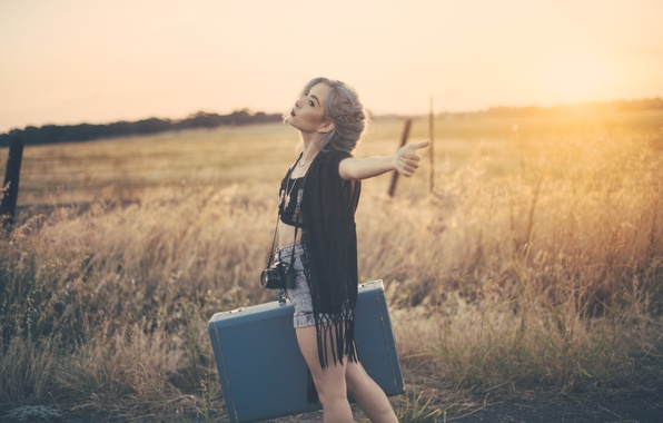 Picture girl, hair, the camera, suitcase
