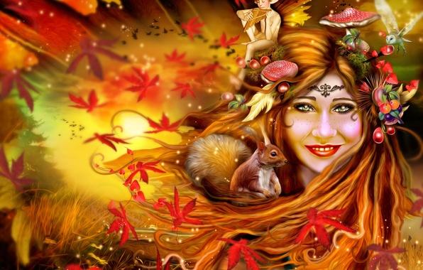 Picture autumn, leaves, girl, owl, elf, mushrooms, protein