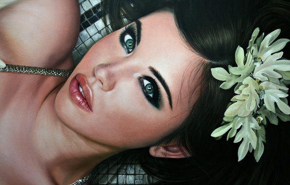 Picture flower, eyes, look, girl, face, hair, lips, lies, beautiful, painting, Christiane Vleugels