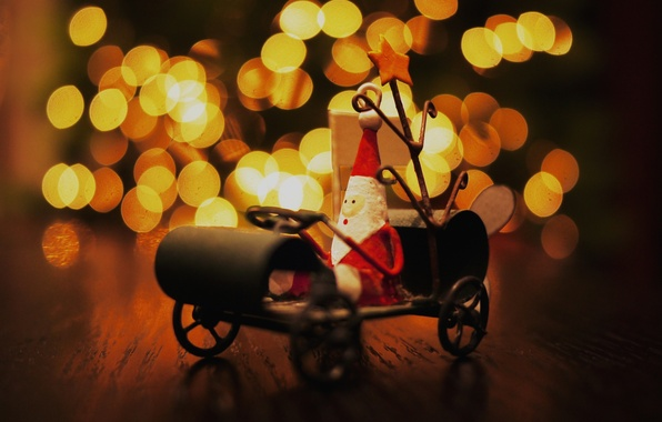 Picture lights, table, mood, holiday, toy, new year, sleigh, Santa Claus, souvenir