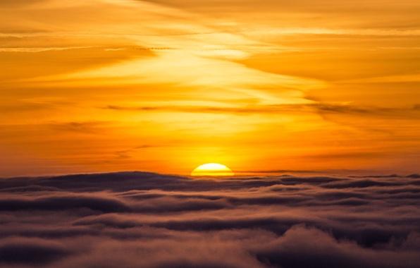 Picture the sky, clouds, sunset, horizon, orange sky
