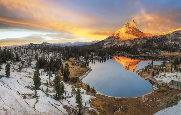 Picture winter, the sky, clouds, snow, trees, sunset, mountains, lake, USA, peak, Yosemite National Park, Sierra …